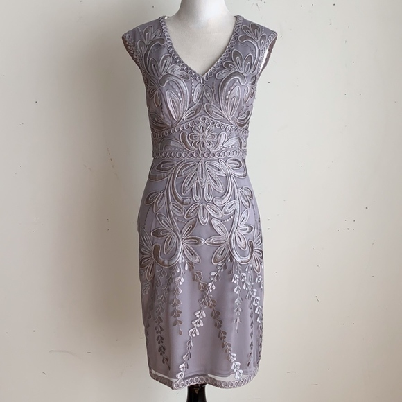 30f8a8fdc80b1 Sue Wong Dresses | Silver Floral Embroidered Cocktail Dress | Poshmark